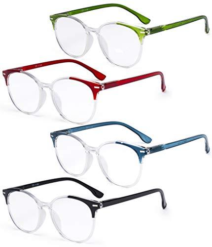 Eyekepper Gafas de Lectura Extragrandes con Estilo para Mujer - Paquete de 4 Lectores Redondos Grandes para Mujer+0.50