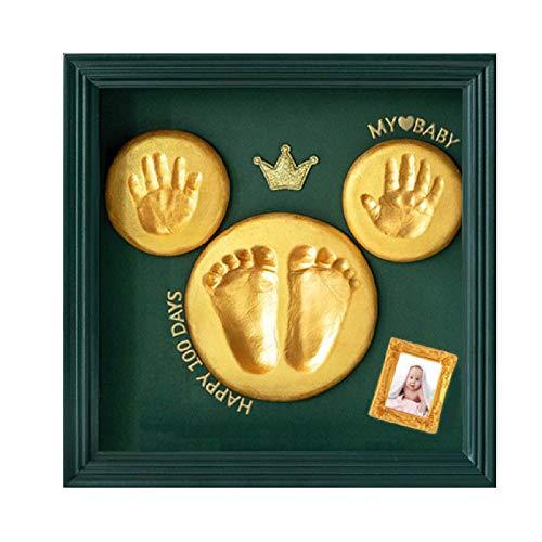 Nifyto Baby Handprint Footprint Ornament Keepsake Kit, Baby Nursery Memory Art Kit, Baby Shower Gifts, Xmas Gifts, Precious Moment for Newborn,Baby Boy/Girl, Personalized Baby Prints(DarkGreen)