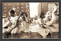 ポスター ジョン バション Hot Summer in the City 1940 額装品 ウッドベーシックフレーム(ブラック)