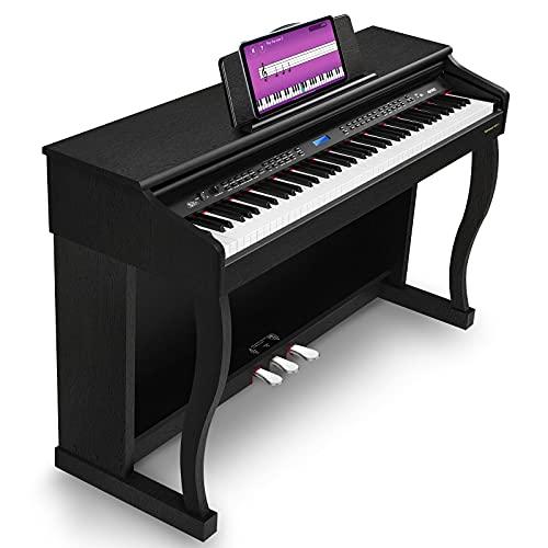 Vangoa VDP-3 88 Key Hammer Action Home Digital Piano Bundle con soporte para muebles, pedal amortiguador, fuente de alimentación, MIDI/USB/auricular/MP3/interfaz de audio, negro