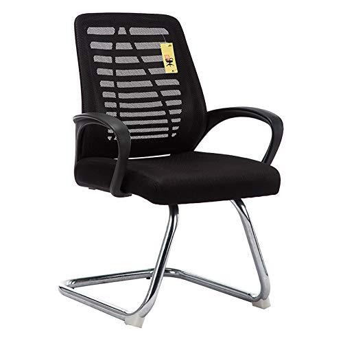 Zhuowei Freischwinger Bürostuhl mit Armlehnen Netzbezug Konferenzstuhl Besucherstuhl Ergonomisch Design Schwingstuhl für Gewicht,Schwarz