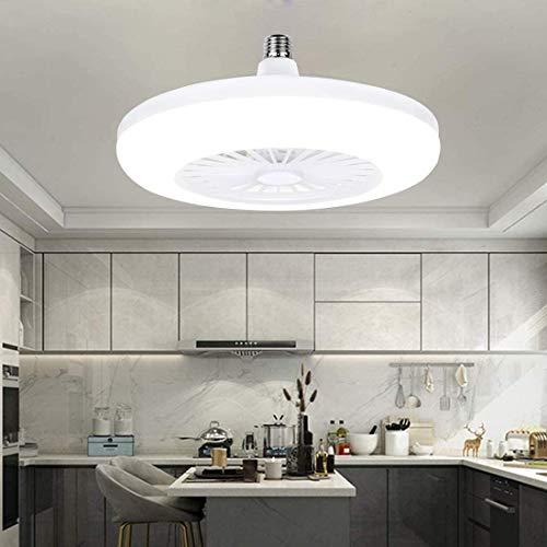 JXILY Deckenventilator Mit Beleuchtung, LED-Lüfter Deckenventilator, Kreative Modernen Haushalt E27 Lampen-Kopf-Ventilator-Licht, Nicht Dimmbar, 1 Datei, Modern Schlafzimmer 11.8In, White