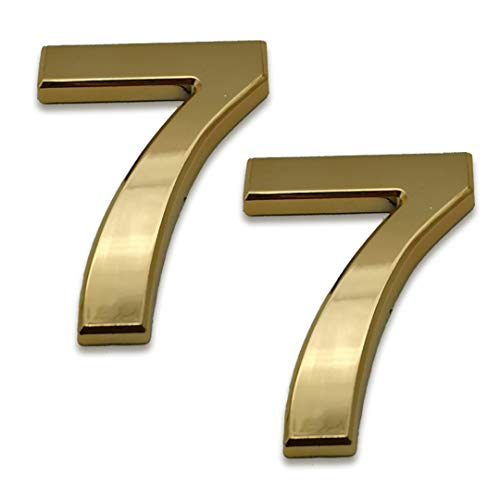 2 Pcs 4 Inch House Numbers 7, Self-Stick Gold Address Sign Number Stickers for (Mailbox Post, Apartment Door, Outside, Yard), 2020 Upgraded Style, by Sureyear. (4 Inch - NO.7, Gold)