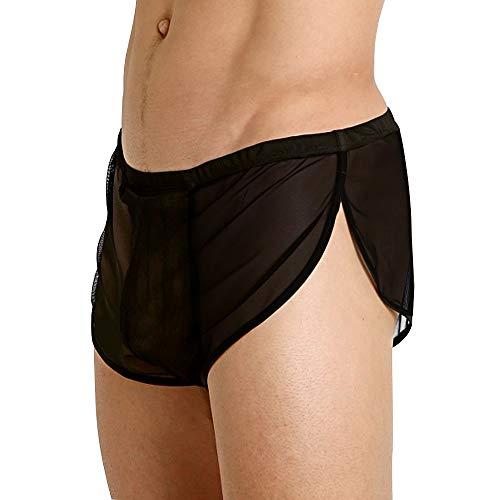 Herren Mesh Shorts mit großen Split Sides Unterwäsche Boxershorts Fishnet Sheer Badehose Color Black Size XL