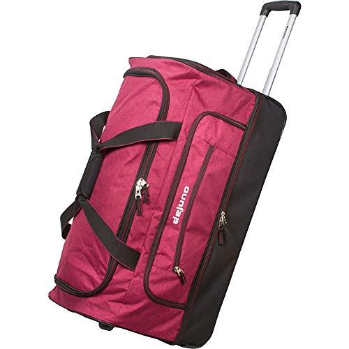 Dejuno 28-Inch Lightweight Denim Drop Bottom Rolling Duffel Bag, Burgundy