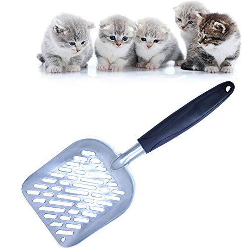 Nuluxi Katzenstreuschaufel Schwarz Metall Katzentoiletten Zubehör Metall Sieb für Katzen Schaufel für Katzenstreu Tierzubehör mit Bequemem Gummi Langer Griff für Haustier Katzen Kätzchen Hund-Schwarz