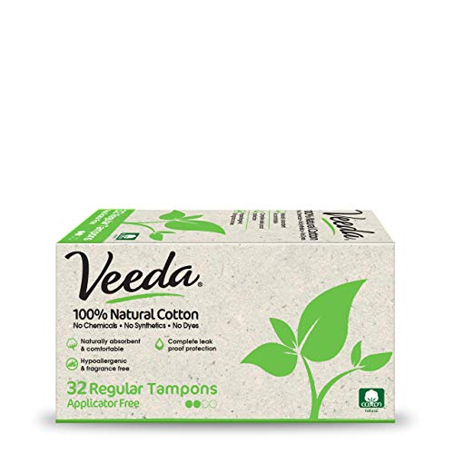 Veeda 100% Natural Cotton Applicator Free Regular Tampons, Chlorine and Toxin Free, Unscented,32 Count