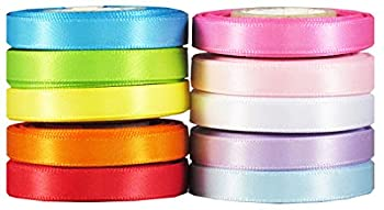 Q-YO Sparkle/Satin/Grosgrain/Autism Ribbon for Hair Bows Dance Floral Designs Gift Wrapping Sewing  50yd 10x5yd  1/4  Satin Ribbons