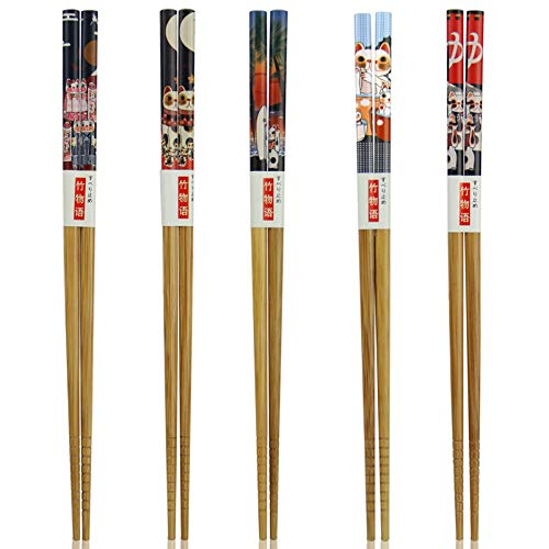 Chopsticks, AOOSY 5 Pairs Japanese Natural Wood Chopstick Set with Case Value Gift (Fortune cat bamboo chopsticks)