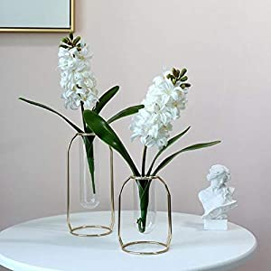 Sucpur 3 Pcs Artificial Plant Hyacinthus, 16.5in Fake Hyacinthus Orientalis Flower Realistic Plastic Daffodils Flowers True White Blue Purple As Orientalis Romantic Real Touch Simulation Flowers