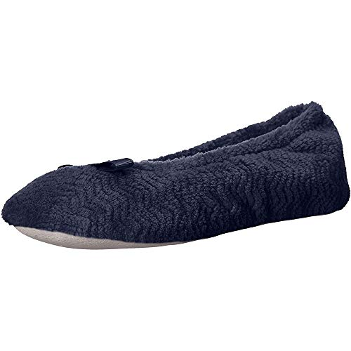 isotoner Women's Chevron Microterry Ballerina House Slipper with Moisture Wicking and Suede Sole for Comfort, Navy Blue, Medium / 6.5-7.5 Regular US