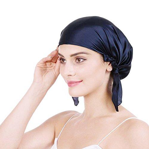Emmet Bonnet de nuit 100 % soie de mûrier douce 19 momme pour perte de cheveux pour femme, avec ruban élastique réglable - Bleu - taille unique