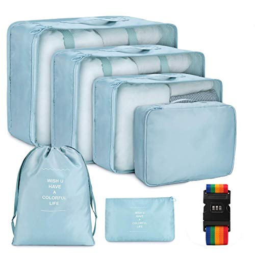Aicheson アレンジケース トラベルポーチ 6点セット 軽量 防水 大容量 旅行 出張 収納ポーチ パッキングオーガナイザー 収納袋 スーツケースベルトのおまけ