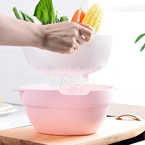 Wffo - Cesta de desagüe de Cocina Doble, multifunción, Creativa, de plástico, para el hogar, Cesta de la Fruta Taomi