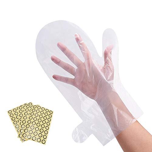 Noverlife Lot de 200 gants jetables en plastique transparent pour bain à la paraffine - Grande taille - Pour spa, salon de manucure, pédicure, barbier - Gants de protection jetables avec autocollants
