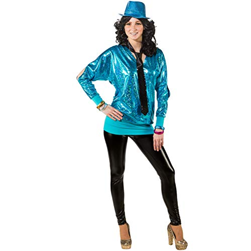 Unbekannt Damen Kostüm 90er Wickelshirt Retro 80er Mottoparty Fasching Karneval (46/48, türkis)