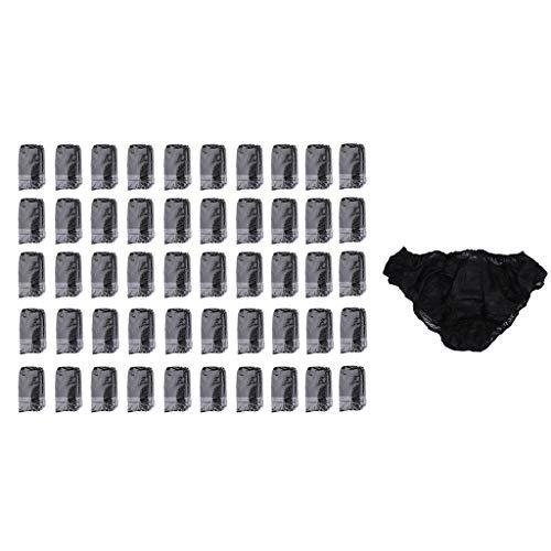 Hellery 50x Einweg Unterhosen EinwegUnterwäsche Einwegslips Einmalslips Einmalunterhosen, Hautfreundlich Material - Schwarz, wie beschrieben
