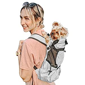 K9 Sport Sack | Dog Carrier Backpack for Small & Medium Pets | Front Facing Adjustable Dog Backpack Carrier | Fully Ventilated | Veterinarian Approved (Small, Air – Charcoal Grey)