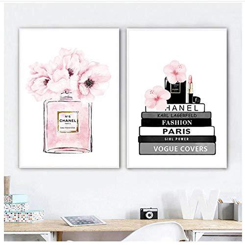 QIAOB Mural de Lienzo, Libro de Moda, Carteles de Botellas de Perfume, Arte de Pared, Pintura en Lienzo, Flores de Acuarela, imágenes de Moda, Impresiones sin Marco