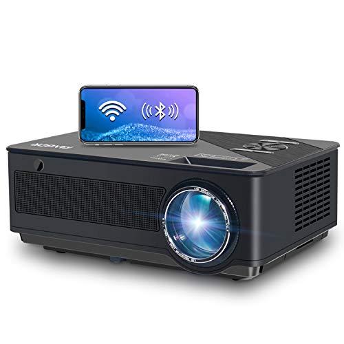 Proyector, FANGOR 7500 Lúmenes Full HD WiFi Proyector 1080P Nativo Vídeoproyector 4K Corrección Tropezoidal Cine en Casa Proyector Bluetooth 65000 Horas, Compatible con HDMI/USB/SD/VGA/AV/TV Box