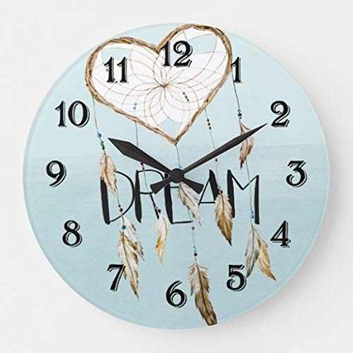 EnjoyHome Rustic Heart Dream Catcher Country Decoration Wood Clock Silent Non-Ticking Battery Operated Wall Clock 14 inches