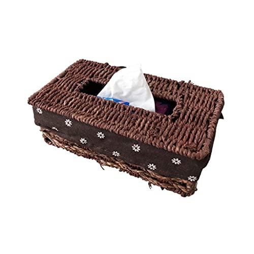 COLiJOL Servilletero Organzier Rectangular Rattan Woven Tissue Box Cover Holder Caja de Papel Tisú Hecha a Mano Dispensador de Servilletas Organizador para Decoración Del Hogar (Color: B),a