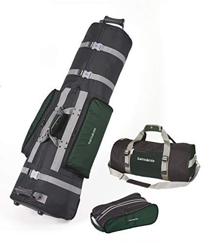 Samsonite SAM700HNBK Golf Deluxe 3 Piece Travel Set with Golf Bag Cover, Shoe Bag & Duffel, Black and Hunter Green