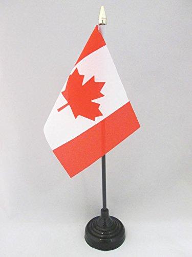 AZ FLAG TISCHFLAGGE Kanada 15x10cm goldene splitze - KANADISCHE TISCHFAHNE 10 x 15 cm - flaggen