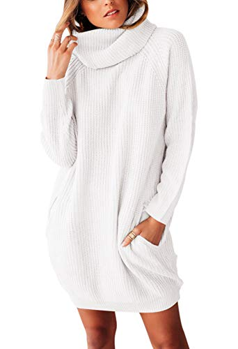 Sovoyontee Women's Beige White Long Sleeve Baggy Oversized Turtleneck Pullover Sweater Dress with Pockets S