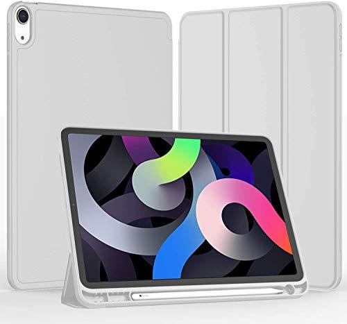 """Capa compatível com iPad Air 4 2020 10,9""""[porta-lápis] [Auto Sleep/Wake Cover], capa inteligente com suporte triplo com parte traseira em TPU macio para iPad 10,9"""" 2020 (Grey)"""