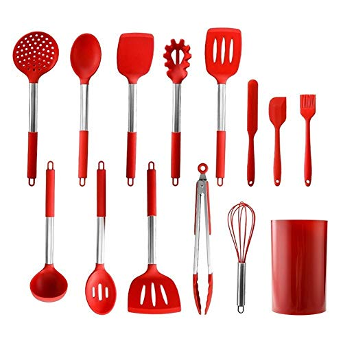 14pcs Silicone Keuken kookgerei Set BPA Liberate Betrouwbare Turner Tong Spatel Home Kitchen supplies (Color : Red)