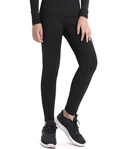 QingCheng Boys & Girls Compression Tights Sport Leggings Base Layer Soccer Hockey Thermal Pants for Kids (Black2 5)