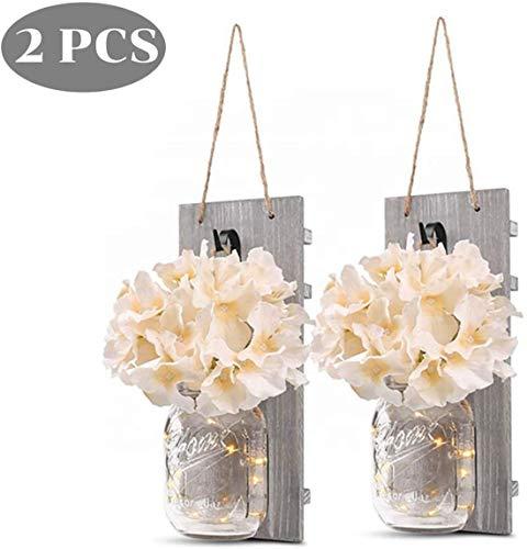 2 PCS Wandleuchte Retro LED Wandleuchte, Vintage-Weckglas LED-Schnur-Licht mit künstlichen Blumen Holzbrett, Retro hängende Laterne Lampe für Hausgarten-Yard Küche Loft Bar