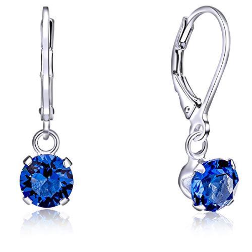 DTPsilver Semental Pendientes/Aretes Cierre de palanca - Plata de Ley 925 con Cristal Swarovski Elements Redondo - Diámetro: 6 mm - Color: Zafiro Azul