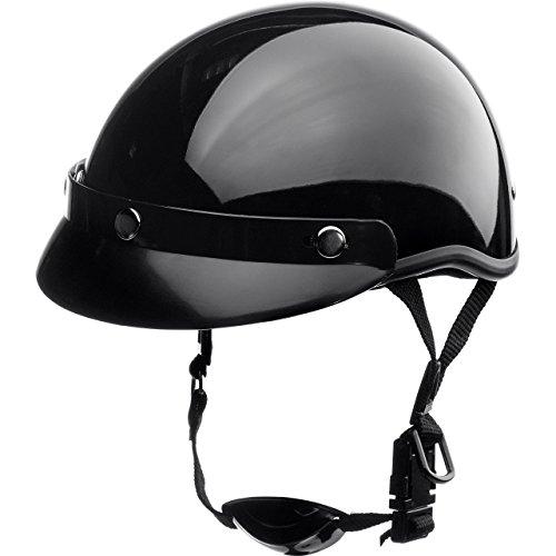 Delroy Jethelm Motorradhelm Helm Motorrad Mopedhelm für Damen und Herren, Braincap, Helmschale aus Polycarbonat, waschbare Polster, inklusive abnehmbarem Schirm, Schnellverschluss, Schwarz, L