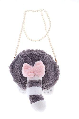 Kawaii-Story LB-75 Waschbär Raccoon Popo Schwanz Cat grau Plüsch Perlenriemen Sweet Pastel Goth Lolita Bag Japan Harajuku Tasche