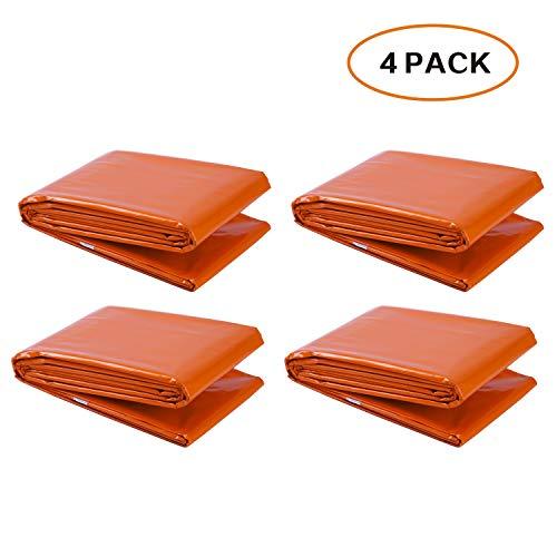 Couvertures de Mylar d'urgence avec Mots (Lot de 4) Couleur: Orange, Grande Taille: 210cm x150cm, Retenue 90% de la chaleur du corps de l'utilisateur
