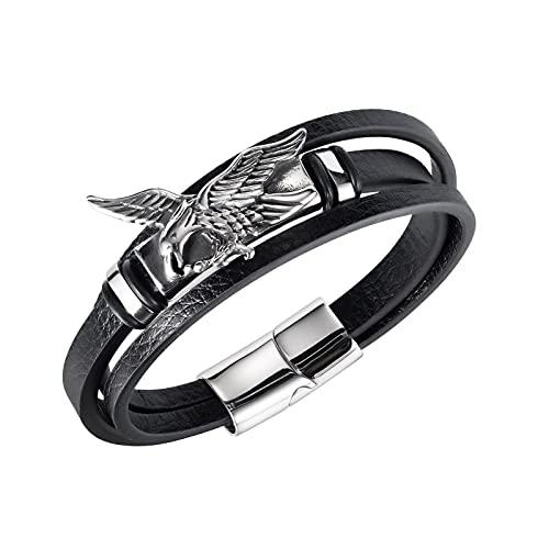 RSHJD Pulsera para Hombre Eagle Creativo de Cuero y Acero, Cadena de Acero Inoxidable y Pulseras de Cuero para Hombres de Moda,Negro