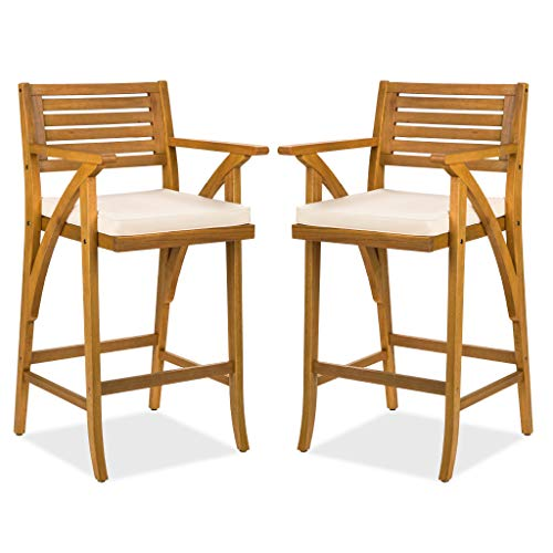 Best Choice Products Set of 2 Outdoor Acacia Wood Bar Stools Bar Chairs w/Weather-Resistant Cushions - Teak Finish