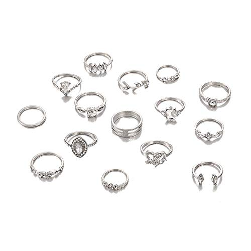 Bohemian Finger Rings Vintage Gold/Silver Crystal Stacking Ring Joint Knuckle Ring Set for Women Girl (Style 7) (Silver4)