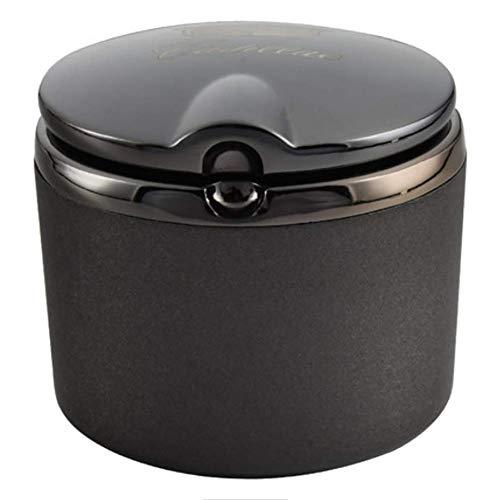 Giow Cenicero, cenicero de Coche Cadillac con Tapa cenicero de Metal Multifuncional, cómodo de Llevar en el Coche, Gran Capacidad (Negro)