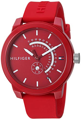Price comparison product image Tommy Hilfiger Men's Quartz Watch with Silicone Strap,  red,  19.7 (Model: 1791480)