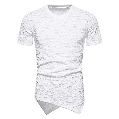 Streetwear Hombre con Cuello En V Color Sólido Diseño De Agujeros Hombre Manga Corta Verano Slim...