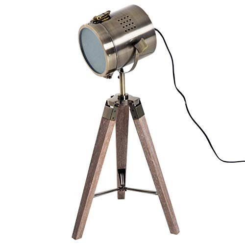 HOMCOM Tischleuchte Scheinwerfer Stehlampe Tripodlampe E14 Retroleuchte Dreibein Edelstahl 33x33x65cm