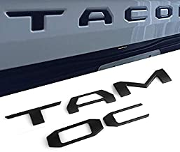 CAR ROVER 3D Raised Zinc Alloy Tailgate Insert Metal Letters for Toyota Tacoma 2016-2019 (Matte Black, Pack of 1)