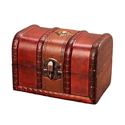 Kalaokei Caja de madera antigua y creativa, caja de tesoro, caja de almacenamiento de madera, caja organizadora de maquillaje, caja con hebilla de bloqueo, L