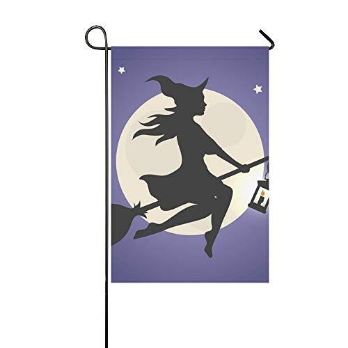 JOCHUAN Wohnkultur Schwarze Silhouette Schöne Glamour Hexe Fliegen Garten Flaghouse Yard Flaggarden Yard Decorationsseasonal Willkommen Outdoor Flagge 12X18 Zoll