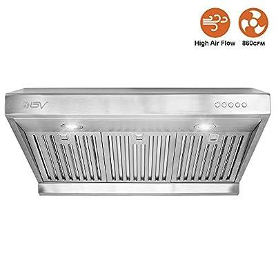 BV Range Hood - 30 Inch 750 CFM Under Cabinet Stainless Steel Kitchen Range Hoods, Dishwasher Safe Baffle Filters w/LED Lights, Ducted Kitchen Exhaust Fan Hood (30 Inch - 750 CFM/RH-01)