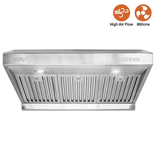 BV Range Hood - 30 Inch 860 CFM Under Cabinet Stainless Steel Kitchen Range Hoods, Dishwasher Safe Baffle Filters w/LED Lights, Ducted Kitchen Exhaust Fan Hood