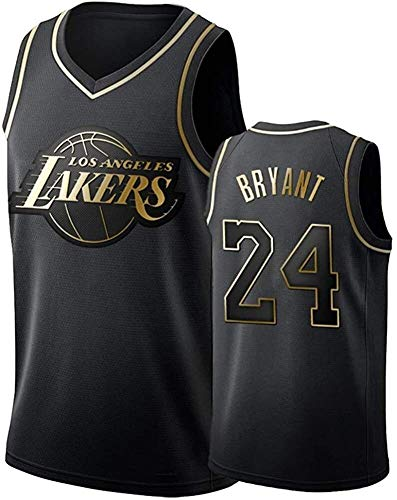 Hombres Camiseta de Kobe Bryant NO.Uniforme de Baloncesto Los Angeles Lakers 24 Verano Jerseys Bordado Tops Baloncesto Traje Jerseys Jersey Oro Negro (Size : XX-Large)